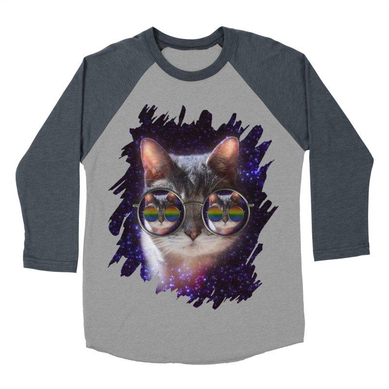 Funny COOL KITTY CAT - Rainbow Sun Glasses Women's Baseball Triblend T-Shirt by EDDArts Shop