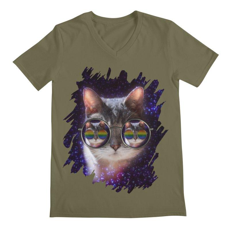 Funny COOL KITTY CAT - Rainbow Sun Glasses Men's Regular V-Neck by EDDArts Shop