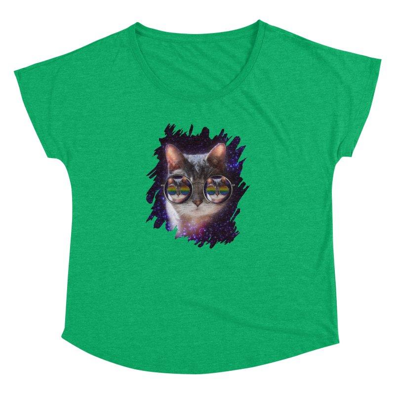 Funny COOL KITTY CAT - Rainbow Sun Glasses Women's Dolman Scoop Neck by EDDArts Shop