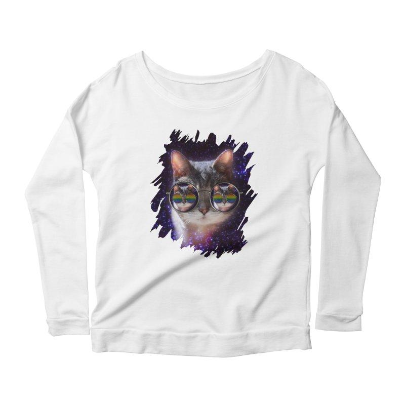 Funny COOL KITTY CAT - Rainbow Sun Glasses Women's Scoop Neck Longsleeve T-Shirt by EDDArts Shop