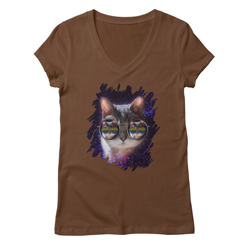 Funny COOL KITTY CAT - Rainbow Sun Glasses Women's Regular V-Neck by EDDArts Shop