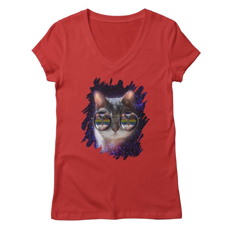 Funny COOL KITTY CAT - Rainbow Sun Glasses Women's Regular V-Neck by EDDArts Shop