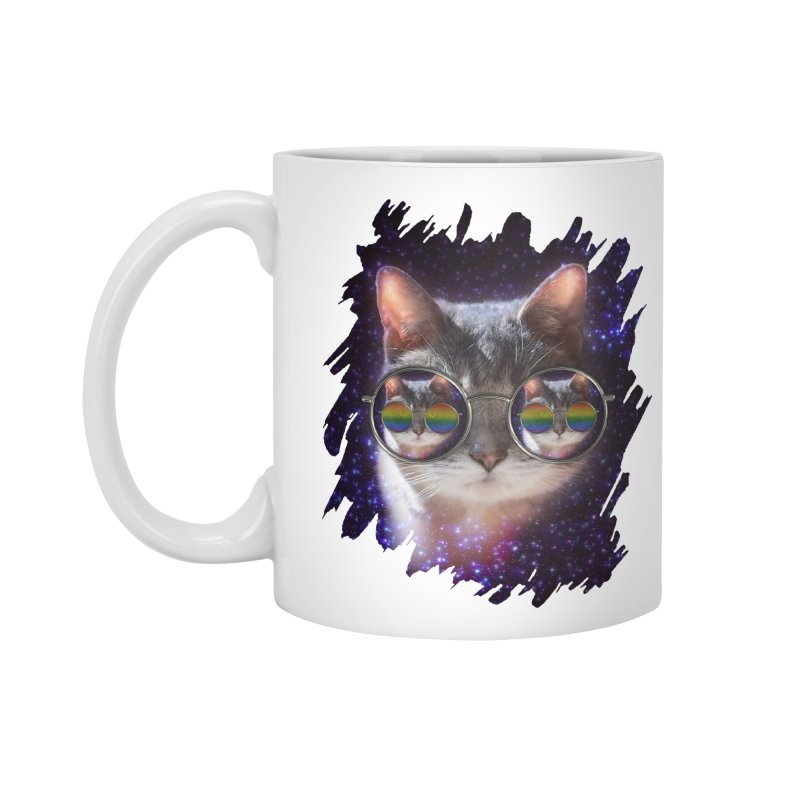 Funny COOL KITTY CAT - Rainbow Sun Glasses Accessories Standard Mug by EDDArts Shop
