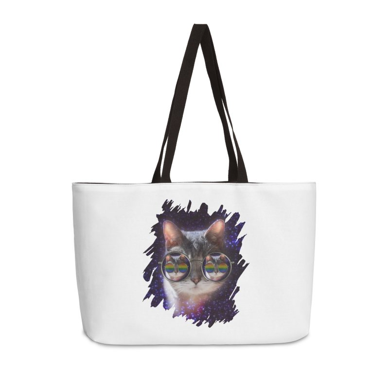 Funny COOL KITTY CAT - Rainbow Sun Glasses Accessories Weekender Bag Bag by EDDArts Shop