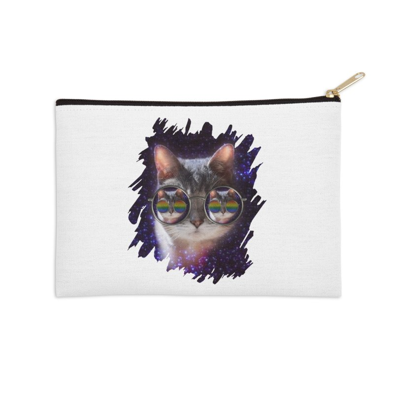 Funny COOL KITTY CAT - Rainbow Sun Glasses Accessories Zip Pouch by EDDArts Shop