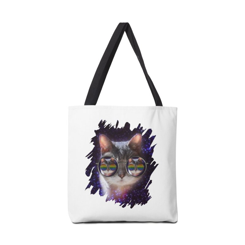 Funny COOL KITTY CAT - Rainbow Sun Glasses Accessories Bag by EDDArts Shop