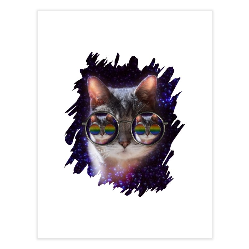 Funny COOL KITTY CAT - Rainbow Sun Glasses Home Fine Art Print by EDDArts Shop