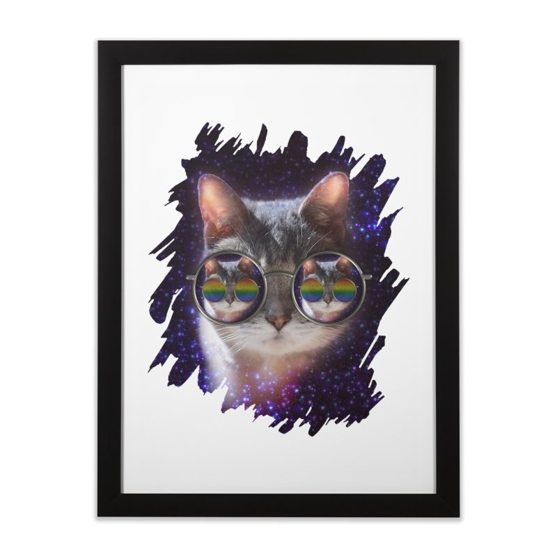 Funny COOL KITTY CAT - Rainbow Sun Glasses Home Framed Fine Art Print by EDDArts Shop