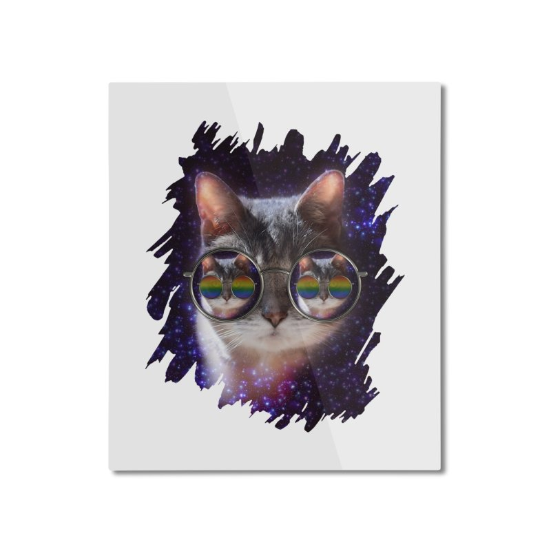 Funny COOL KITTY CAT - Rainbow Sun Glasses Home Mounted Aluminum Print by EDDArts Shop