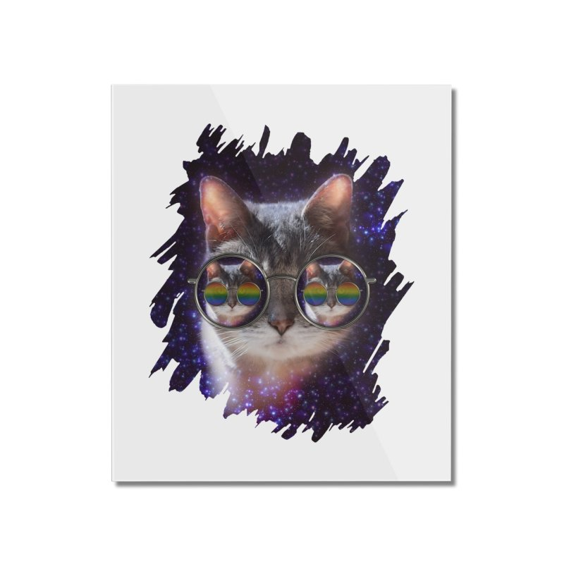Funny COOL KITTY CAT - Rainbow Sun Glasses Home Mounted Acrylic Print by EDDArts Shop