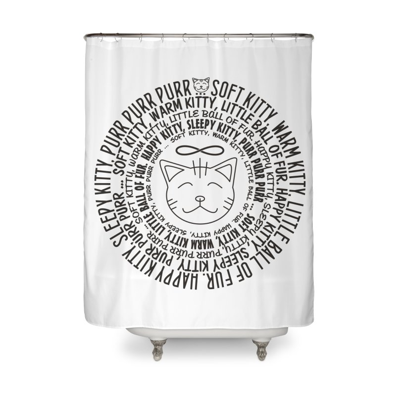 Theoretical Physics Nerd - Soft Kitty Song - black Home Shower Curtain by EDDArts Shop