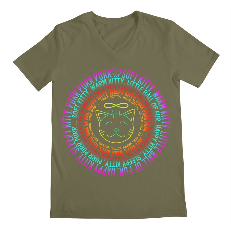 Theoretical Physics Nerd - Soft Kitty Song - neon Men's Regular V-Neck by EDDArts Shop