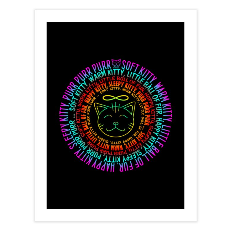 Theoretical Physics Nerd - Soft Kitty Song - neon Home Fine Art Print by EDDArts Shop