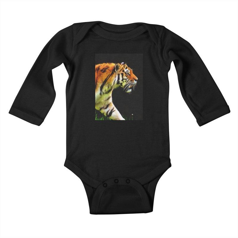 EDDIE'S TIGER Kids Baby Longsleeve Bodysuit by Eddie Christian's Artist Shop