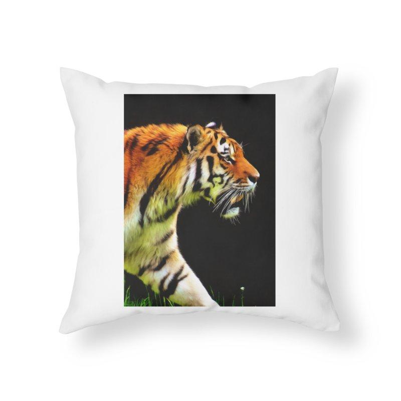 EDDIE'S TIGER Home Throw Pillow by Eddie Christian's Artist Shop