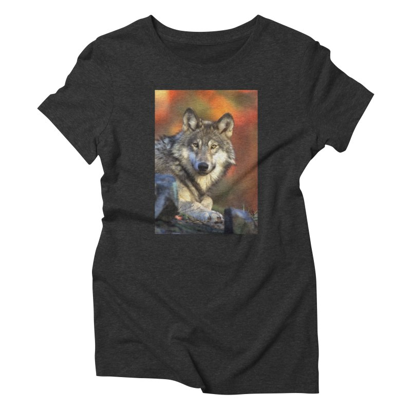 AUTUMN WOLF Women's T-Shirt by Eddie Christian's Artist Shop
