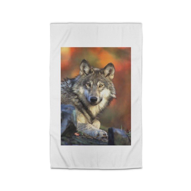 AUTUMN WOLF Home Rug by Eddie Christian's Artist Shop