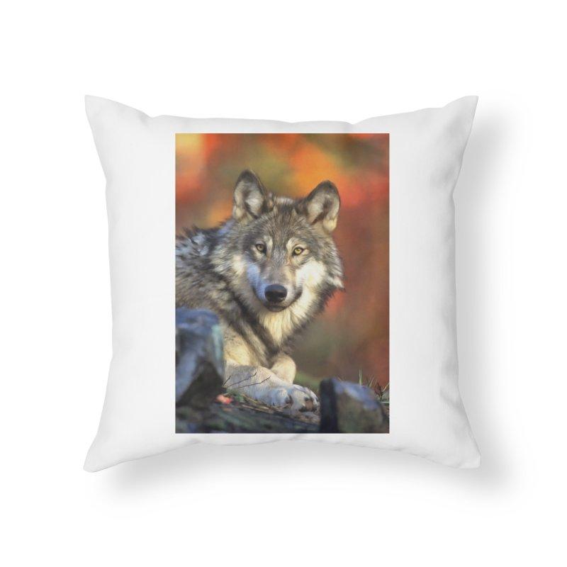AUTUMN WOLF Home Throw Pillow by Eddie Christian's Artist Shop