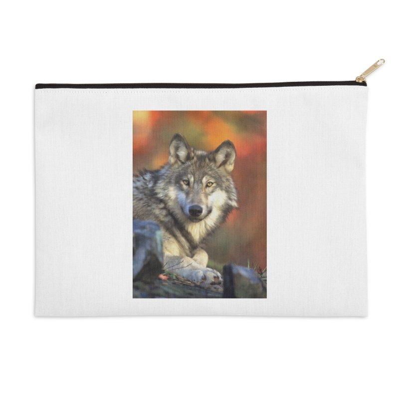AUTUMN WOLF Accessories Zip Pouch by Eddie Christian's Artist Shop