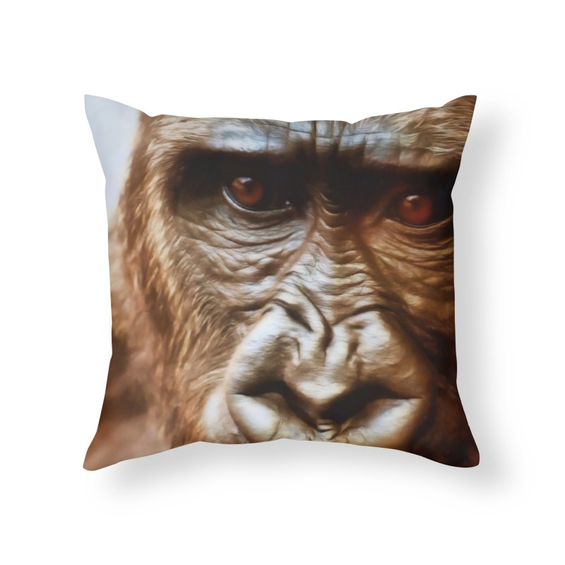 COMPASSION OF THE GORILLA Home Throw Pillow by Eddie Christian's Artist Shop