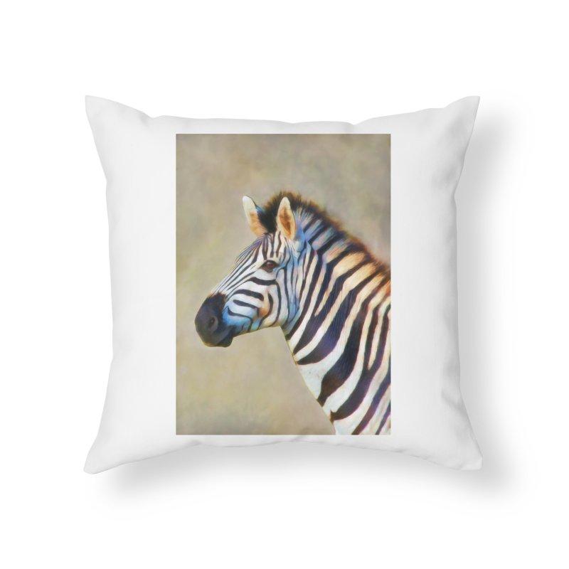 THE ZEBRA Home Throw Pillow by Eddie Christian's Artist Shop