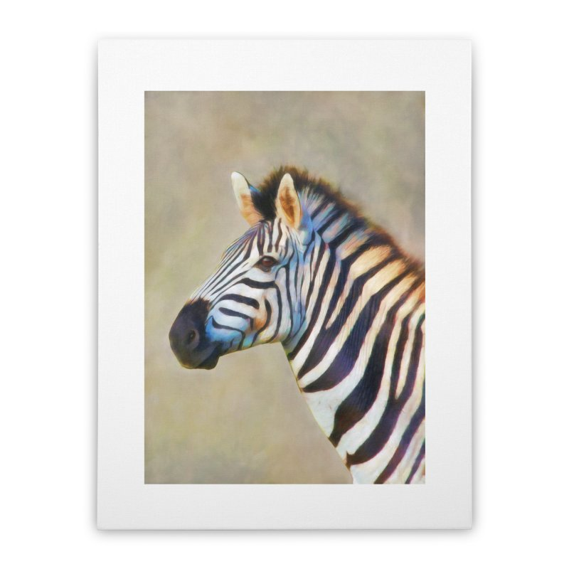 THE ZEBRA Home Stretched Canvas by Eddie Christian's Artist Shop