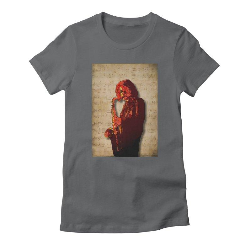 SaxMan Hits the Sheets Women's T-Shirt by Eddie Christian's Artist Shop