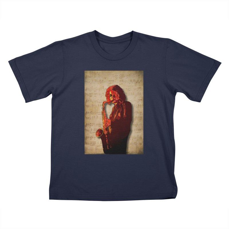 SaxMan Hits the Sheets Kids T-Shirt by Eddie Christian's Artist Shop