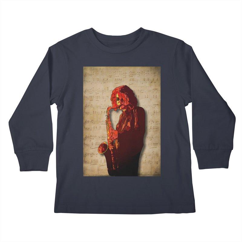SaxMan Hits the Sheets Kids Longsleeve T-Shirt by Eddie Christian's Artist Shop