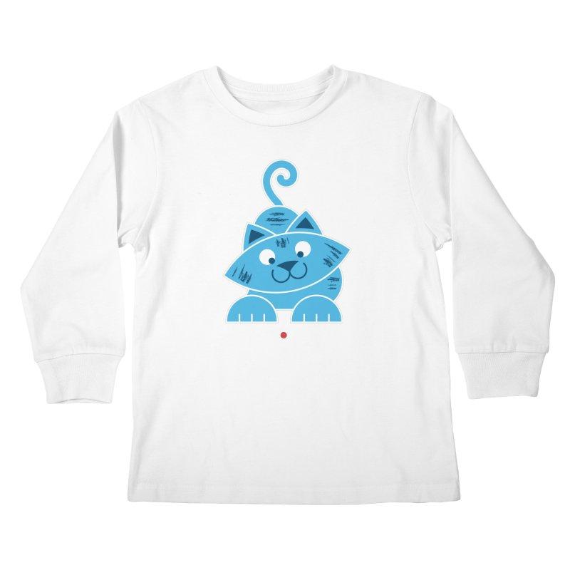 Kitty vs. Laser Pointer Kids Longsleeve T-Shirt by Eddie Fieg Graphic Design and Illustration