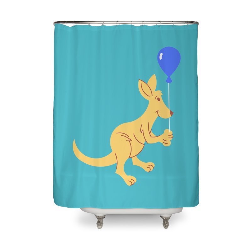 Kangaroo with a Balloon Home Shower Curtain by Eddie Fieg Graphic Design and Illustration