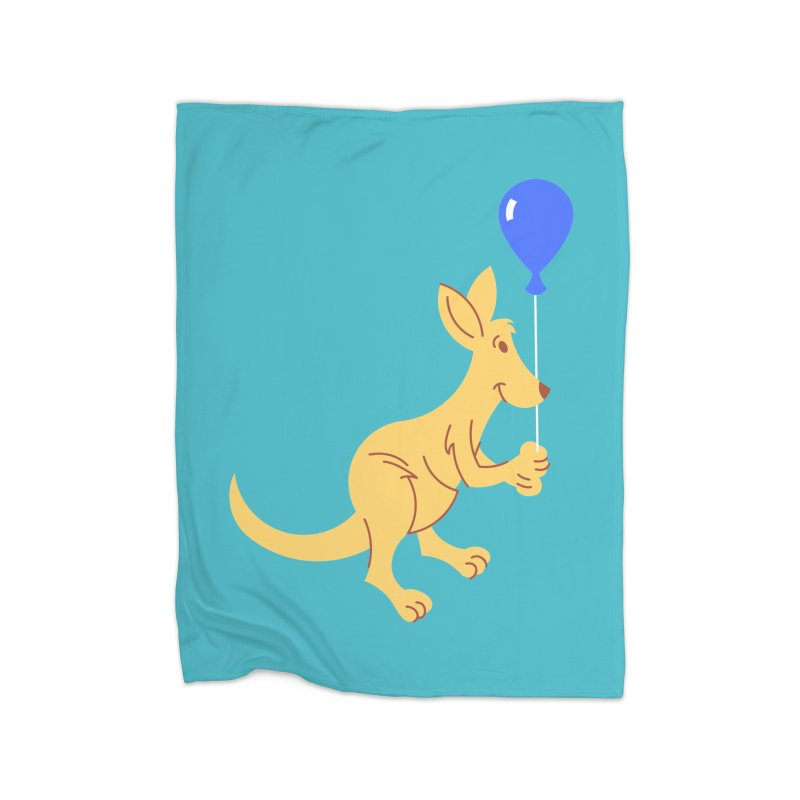 Kangaroo with a Balloon Home Fleece Blanket Blanket by Eddie Fieg Graphic Design and Illustration