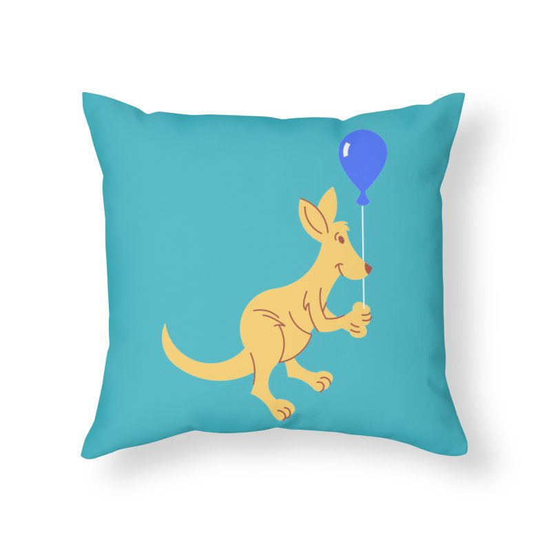 Kangaroo with a Balloon Home Throw Pillow by Eddie Fieg Graphic Design and Illustration