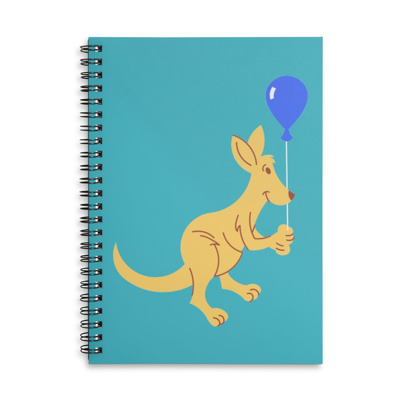 Kangaroo with a Balloon Accessories Lined Spiral Notebook by Eddie Fieg Graphic Design and Illustration