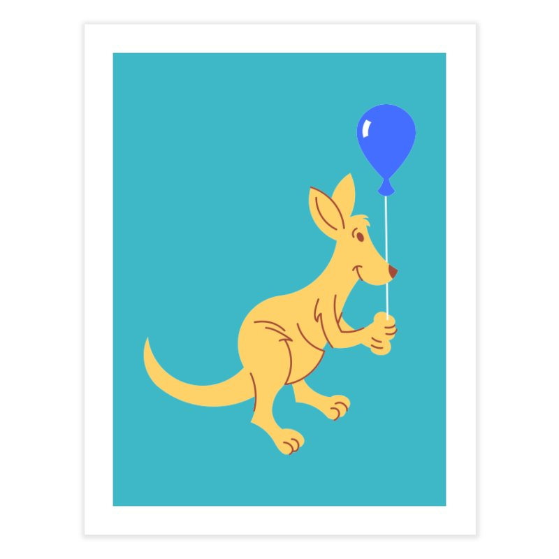 Kangaroo with a Balloon Home Fine Art Print by Eddie Fieg Graphic Design and Illustration