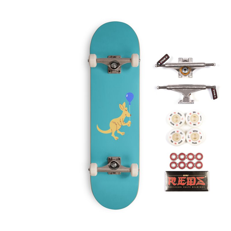 Kangaroo with a Balloon Accessories Complete - Pro Skateboard by Eddie Fieg Graphic Design and Illustration