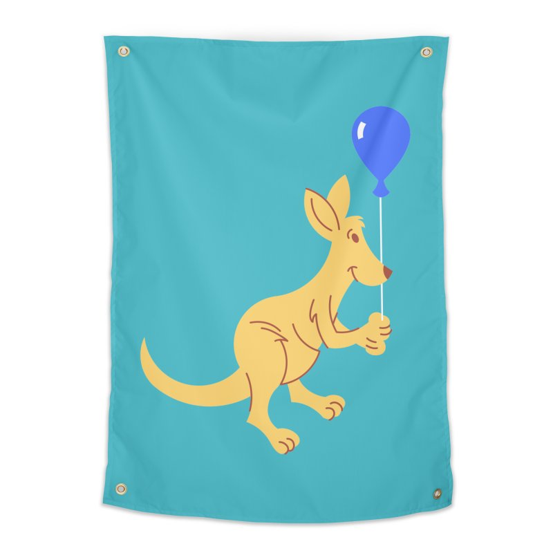 Kangaroo with a Balloon Home Tapestry by Eddie Fieg Graphic Design and Illustration