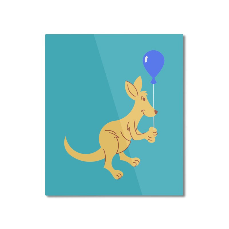 Kangaroo with a Balloon Home Mounted Aluminum Print by Eddie Fieg Graphic Design and Illustration