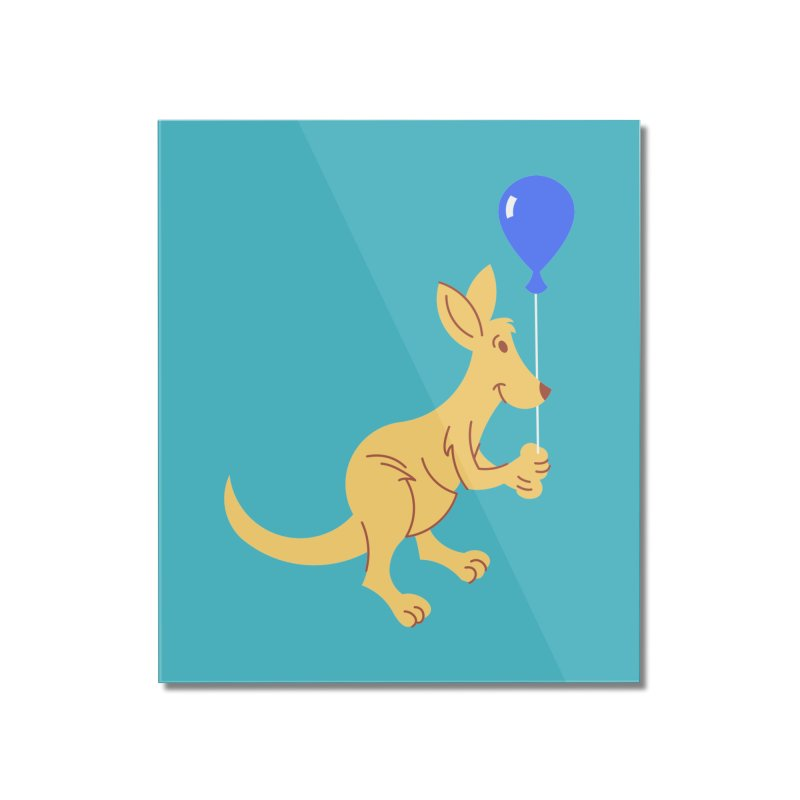 Kangaroo with a Balloon Home Mounted Acrylic Print by Eddie Fieg Graphic Design and Illustration