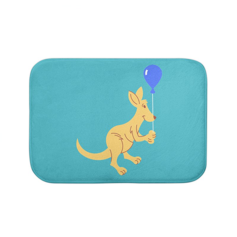 Kangaroo with a Balloon Home Bath Mat by Eddie Fieg Graphic Design and Illustration