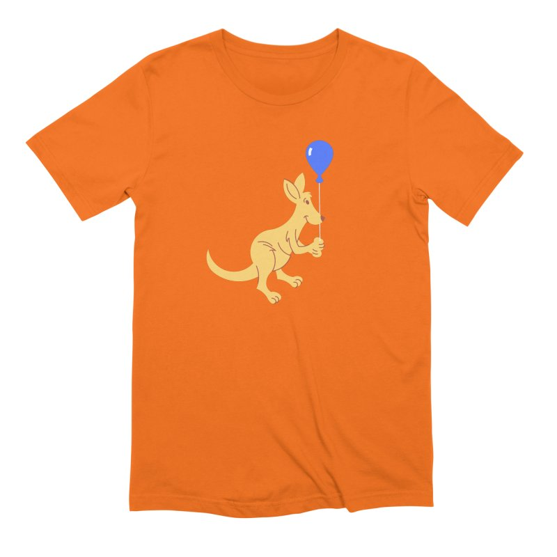 Kangaroo with a Balloon Men's Extra Soft T-Shirt by Eddie Fieg Graphic Design and Illustration