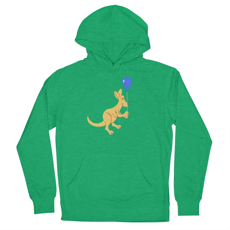 Kangaroo with a Balloon Men's French Terry Pullover Hoody by Eddie Fieg Graphic Design and Illustration