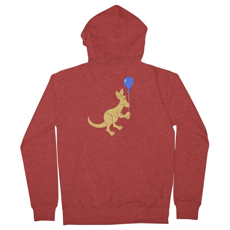 Kangaroo with a Balloon Women's French Terry Zip-Up Hoody by Eddie Fieg Graphic Design and Illustration