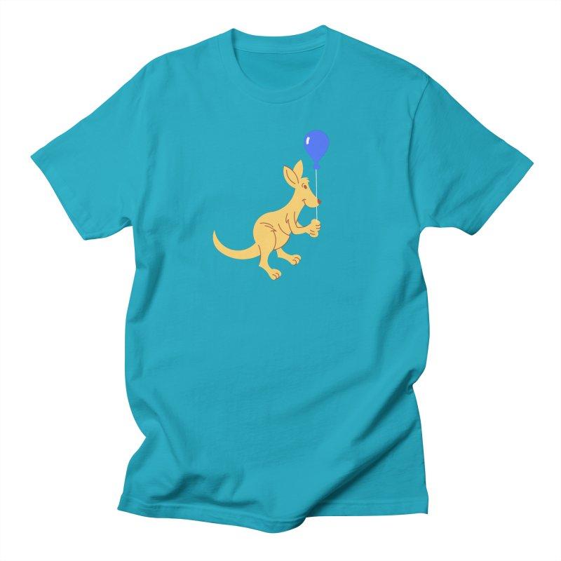 Kangaroo with a Balloon Women's Regular Unisex T-Shirt by Eddie Fieg Graphic Design and Illustration