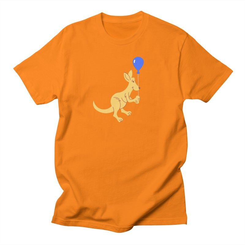 Kangaroo with a Balloon Men's Regular T-Shirt by Eddie Fieg Graphic Design and Illustration