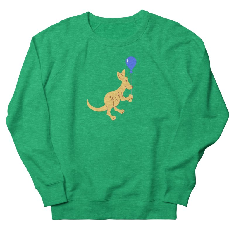 Kangaroo with a Balloon Women's French Terry Sweatshirt by Eddie Fieg Graphic Design and Illustration