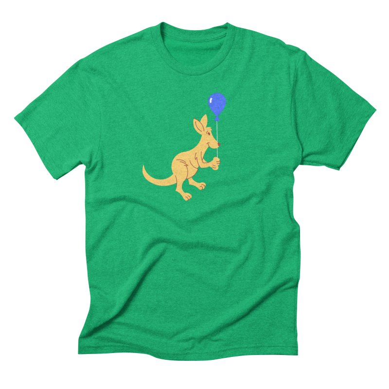 Kangaroo with a Balloon Men's Triblend T-Shirt by Eddie Fieg Graphic Design and Illustration