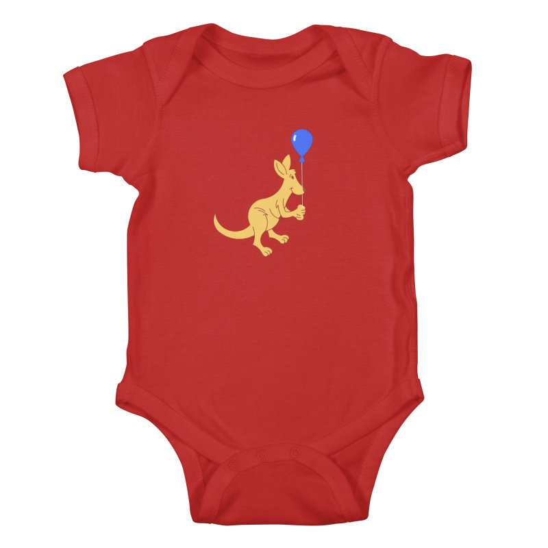 Kangaroo with a Balloon Kids Baby Bodysuit by Eddie Fieg Graphic Design and Illustration
