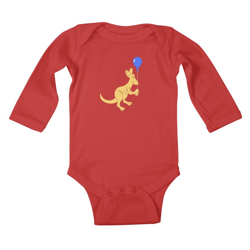 Kangaroo with a Balloon Kids Baby Longsleeve Bodysuit by Eddie Fieg Graphic Design and Illustration