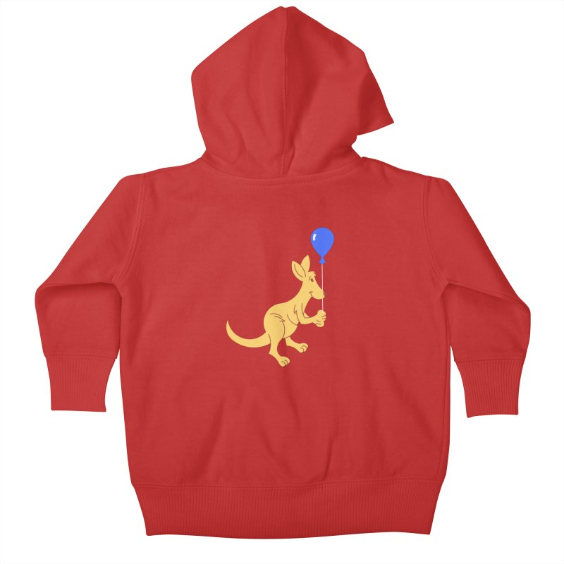Kangaroo with a Balloon Kids Baby Zip-Up Hoody by Eddie Fieg Graphic Design and Illustration